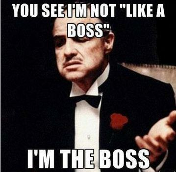 You see I'm not like a boss, I'm the boss