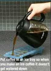 coffee in an ice tray