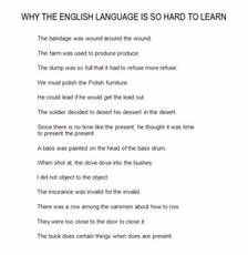 Why the English Language is so hard to learn