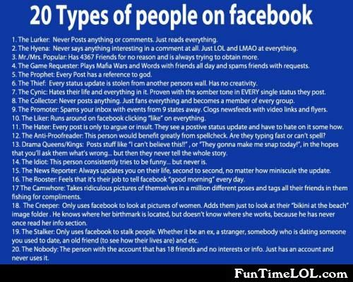 20 types of people on facebook