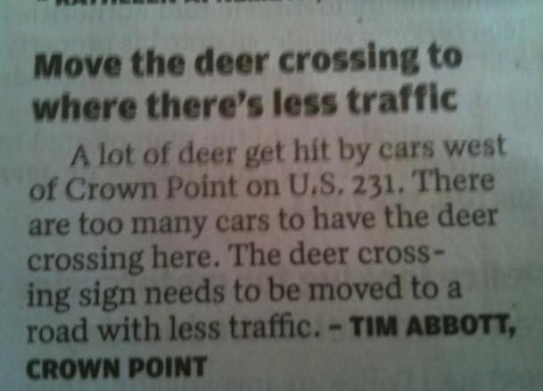 Move the deer crossing to where there's less traffic