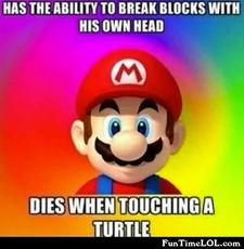 Has the ability to break blocks with his own head, dies when touching a turtle