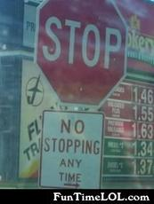 no stopping any time stop sign